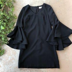 Eliza J Black Long Bell Sleeve Shift Dress